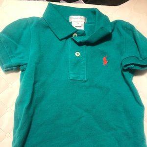 Ralph Lauren baby 9mo teal polo shirt with emblem
